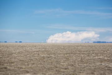 Panorama of the Salar of Uyuni with blue sky, Bolivia