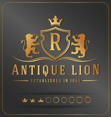 Luxurious Lions Royal Crest Vector Design Template Suitable For Businesses Logo and Product Names, Luxury industry like Resort, Spa, Hotel, Jewelry, Wedding, Restaurant and Real estate.