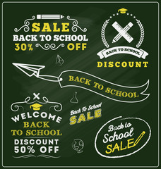 Back to school sale promotional badge and labels design sets. Vector illustration