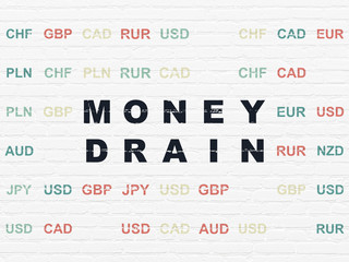 Banking concept: Money Drain on wall background