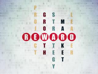 Business concept: word Reward in solving Crossword Puzzle