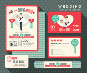 groom carrying bride cartoon retro wedding invitation set design