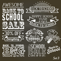 Back to School calligraphic label set on chalkboard. School sale sign retro style