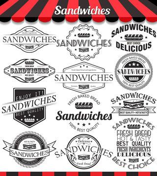 Vector illustration set of sandwiches retro vintage labels, badges and logos.