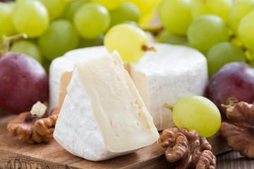 fresh camembert, walnuts and fresh grapes, close-up