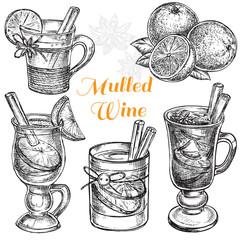 hand drawn set mulled wine