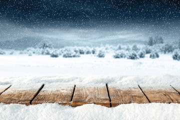 wooden table of snow