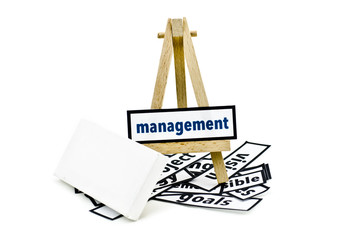 concept management word on wooden stand.random cutted print paper and empty canvas frame isolated white background
