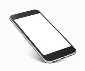Smartphone with blank screen standing on corner, isolated on white background