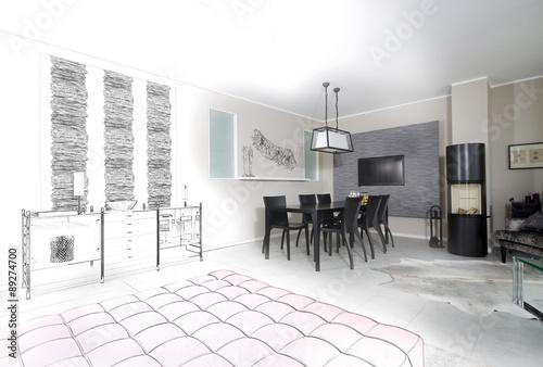Wohnzimmereinrichtung 2015 : Quot Bauentwurf F?r Eine Wohnzimmereinrichtung  Stock Photo