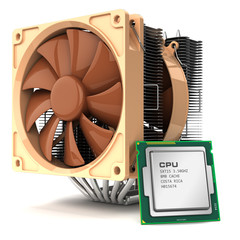 Fan cooler for PC and CPU chip processor and isolated on white b