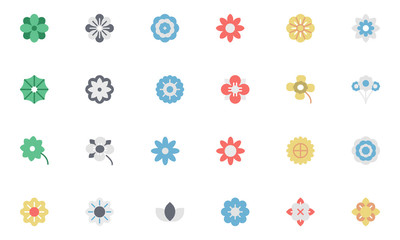 Flowers and Floral Colored Vector Icons 1