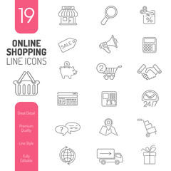 Online Shopping Thin Lines Web Icon Set