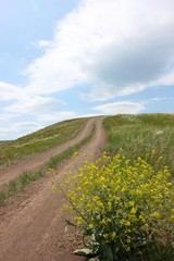 Steppe dirt road towards a hill top against a blue sky