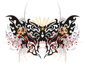Printed kitchen splashbacks Butterflies in Grunge Tribal butterfly splashes with tiger head. Grunge moth with tiger head and blood drops