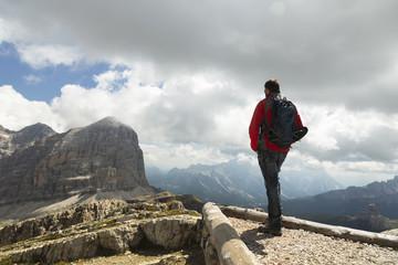 Man hiking in Dolomite Mountains