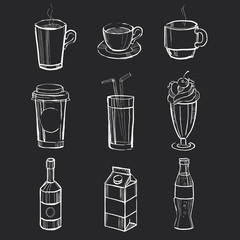 Set of different hand drawn beverages on the blackboard. Vector