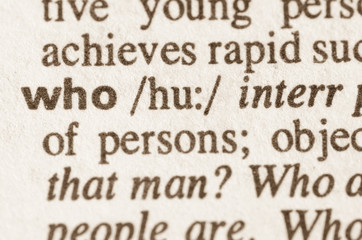 Dictionary definition of word who