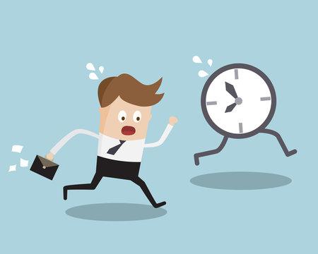 Businessman Running Follow Clock Late Work Time