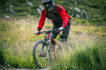 Fototapete - biker fra l'erba