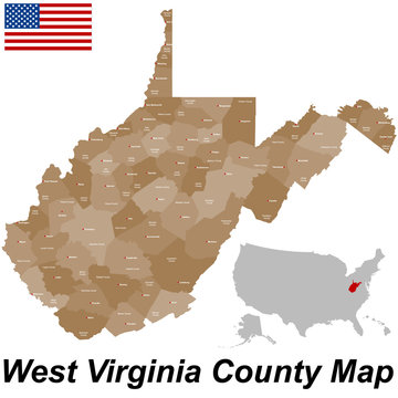 A large and detailed map of the State of West Virginia with all counties and county seats.
