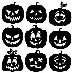Pumpkin silhouettes theme set 1