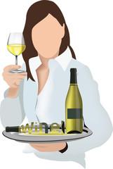 donna con calice vino bianco