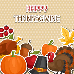 Happy Thanksgiving Day background design with holiday sticker