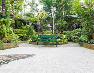 green bench in door park