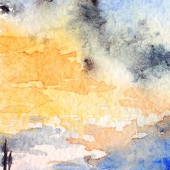 Watercolor sunset blue orange sky clouds texture background