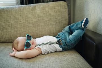cute little boy in sunglasses