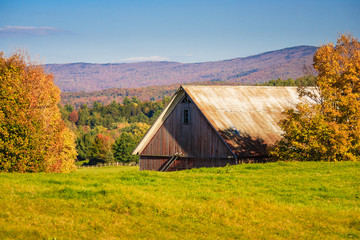 Old country barn on an autumn afternoon.