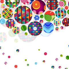 Multicolor abstract bright background with ornamental circles.