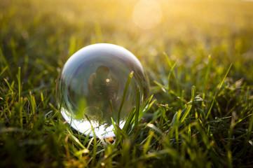 Glass ball on the grass