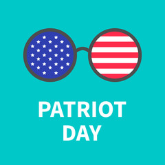 Round glasses with stars and strips. Patriot Day background flat design