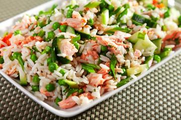 Rice salad with salmon