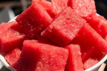 pieces watermelon in bowl, closeup