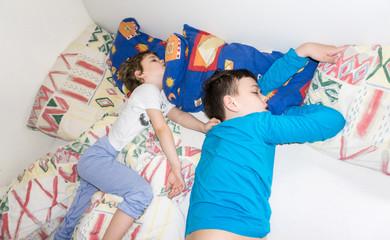 sleeping children relax resting boys