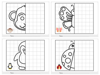 Symmetrical picture - Worksheet for education