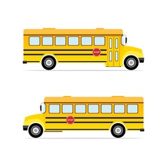 Vector yellow school bus.