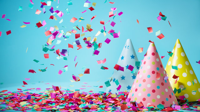 Colored confetti on party hat