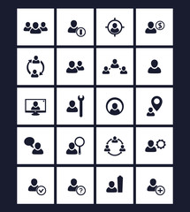 Personnel management, human resources, square flat icons, vector illustration, eps10, easy to edit