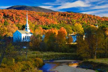 Rural Vermont town during peak foliage season.