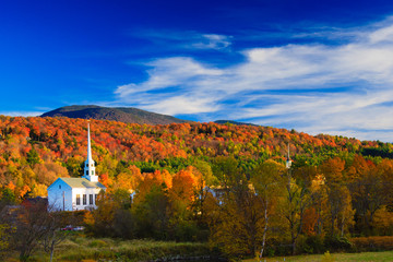 Rural Vermont town during peak foliage season.