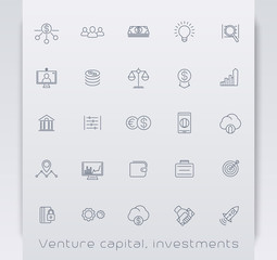 Venture capital, investments, stock exchange, line icons, vector illustration, eps10, easy to edit