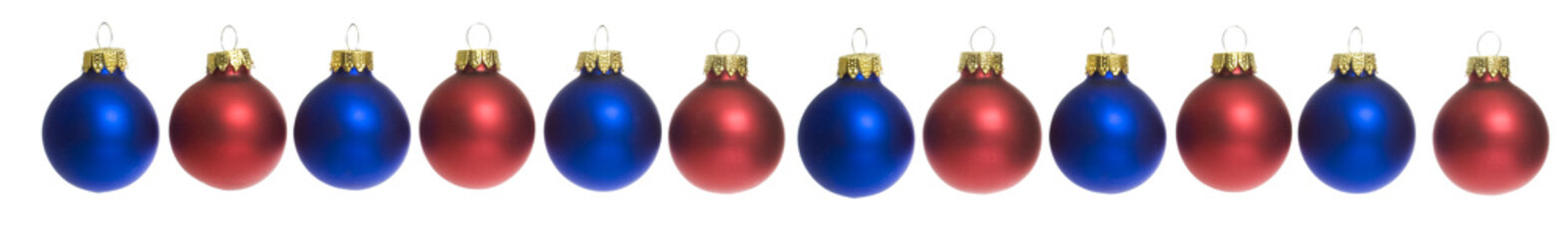 Row of Red and Blue Christmas Balls