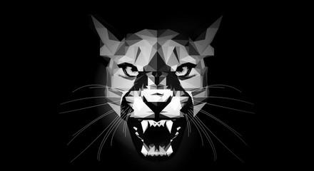 Low Poly - aggressive Puma - black & white portrait - alcohol drink label
