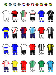 Latinamerican Clubs Jerseys Football Kits Pencil Style
