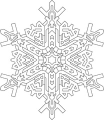 Outlines of snowflake in mono line style for coloring, coloring