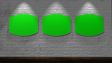 brick wall background with green screen picture frames